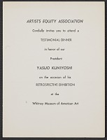 thumbnail image for Artists Equity Association invitation to Yasuo Kuniyoshi testimonial dinner