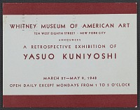 thumbnail image for Whitney Museum of American Art announcement for the retrospective exhibition of Yasuo Kuniyoshi
