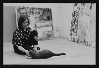 thumbnail image for Photograph of Judith Linhares with her cat, Nelson