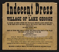 thumbnail image for Notice of dress code in Lake George, N.Y., given to Elizabeth McCausland by Alfred Stieglitz
