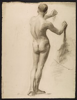 thumbnail image for Sketch of an artists' model using a wedge for support