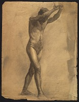 thumbnail image for Sketch of an artists' model holding rope for support