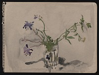 thumbnail image for Watercolor sketch of purple flowers in a vase