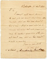 thumbnail image for Andrew Jackson letter to Hiram Powers