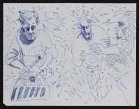 thumbnail image for Blue ink drawing of musicians