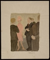 view Men in suits standing with a woman in a pink dress digital asset number 1