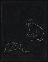 thumbnail image for Ink drawing of a cat and three mice