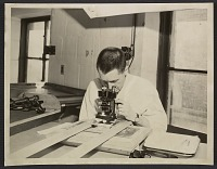 thumbnail image for George L. Stout in conservation lab looking through a microscope
