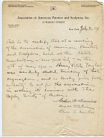 thumbnail image for Memorandum certifying Henry Fitch Taylor as Secretary of the Association of American Painters and Sculptors