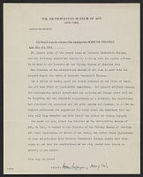 thumbnail image for Metropolitan Museum of Art (New York, N.Y.), New York, N.Y. memorandum to unidentified recipient