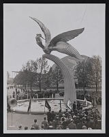 view Photograph of sculpture <em>Spirit of Flight</em> by Gertrude Vanderbilt Whitney at the New York World&apos;s Fair digital asset: front