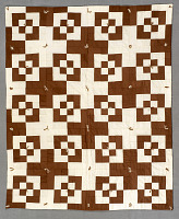 view Square Block Quilt with Tassels (Brown & White) digital asset number 1