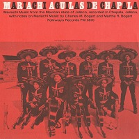 view Mariachi Aguilas de Chapala [sound recording] : mariachi music from the Mexican state of Jalisco / recorded in Chapala, Jalisco, with notes on Mariachi music by Charles M. Bogert and Martha R. Bogert digital asset number 1