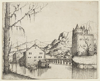 view River Landscape with Two Buildings Connected by a Bridge digital asset number 1