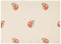 view Red Cherries and White Stars on Pink Ground, Wallpaper Design digital asset number 1