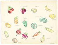 view Button Design: Striped Fruit and Vegetables digital asset number 1