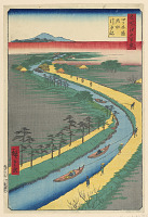 view Hauling Canal Boats, Yotsugi Road (Yotsugi-dori, yosui hikifune) From the Series One Hundred Famous views of Edo digital asset number 1