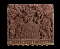view One face of a fence-rail from Bharhut: Worship at a Stupa digital asset number 1