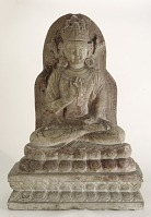 view Seated figure of Bodhisattva with Sino-Tibetan style: double lotus pedestal on rectangular base digital asset number 1