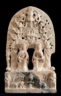 view Buddhist stele with dual images of the bodhisattva Maitreya digital asset number 1