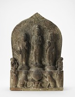 view Stele with Buddhist triad digital asset number 1