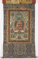 view Bhaishajya Guru, from a four-part set of thangkas digital asset number 1