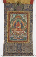 view Amitabha in Sukhavati Pure Land, from a four-part set of thangkas digital asset number 1