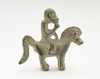 view Orament in the form of a monkey riding a horse digital asset number 1