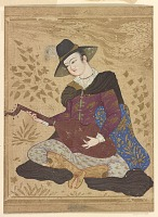 view Young man in European dress playing on a lute digital asset number 1