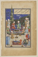 view Folio from a <i>Mihr-u Mushtari</i> (The Sun and Jupiter) by Shams al-Din Muhammad Assar Tabrizi (d. circa 1382); verso: Mihr feasting with Kayvan the King of Khwarazm; recto: text, Mihr playing lute and feasting with Kayvan digital asset number 1