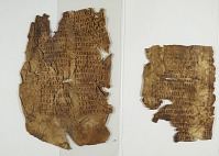 view Unidentified text on three large leaves and four pieces digital asset number 1
