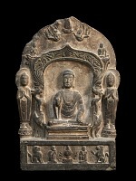 view Buddhist memorial stele, decorated on the front with a flat niche in which the Sakyamuni Buddha is seated on a low pedestal digital asset number 1