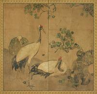 view Three cranes under a tree digital asset number 1