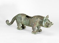 view One of a pair of tigers, possibly the base supports for a bell stand digital asset number 1