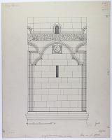 view D-47: Ma'arra. Great Minaret, elevation of 2nd storey.Corpus, p1.LVIIb digital asset: Aleppo (Syria): Great Mosque, Minaret: Elevation of Second Storey [drawing]