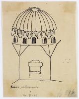 view D-85: Hamah. Jami'al-Husanain.SA-II, fig.67b digital asset: Hama (Syria): Mosque of al-Hasanain: Sketch of the Room with a Dome [drawing]