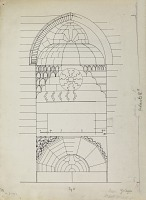 view D-122a: Damascus (Syria): Yalbugha Mosque, Western Fac̦ade of Courtyard: Elevation of Entrance Portal digital asset: Damascus (Syria): Yalbugha Mosque, Western Fac̦ade of Courtyard: Elevation of Entrance Portal [drawing]