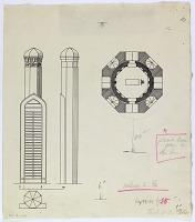 view D-182: Nishapur. Tombstone of Farid al-din 'Attar.SA-III, figs.49--51 digital asset: Nishapur (Iran): Tomb of Farid-ud-din-Attar: Ground Plan and Elevation of the Tomb Tower [drawing]