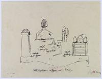 view D-207: Isfahan, Brussa, Shiraz. Goal posts and tombstones (tracings).SA-III, figs.45--48 digital asset: Isfahan (Iran), Brussa (Turkey), Shiraz (Iran), Ispahan (Iran): Goal Posts and Tombstones [drawing]