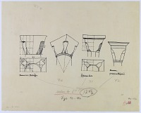 view D-230: Damascus, Isfahan, Brussa. Three truncated cone capitals (tracing).SA-III, figs.40--42. See D-230 a,b digital asset: Isfahan (Iran), Brussa (Turkey), Damascus (Syria): Three Truncated Cone Capitals [drawing]