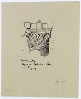 view Aleppo (Syria): Mashhad al-Husayn, Mihrab: Sketch of Roman Style Capital [drawing] digital asset number 1