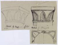 view D-291: Aleppo (Syria): Mosque of al-Hayyat: Sketch of Stone Capital digital asset: Aleppo (Syria): Mosque of al-Hayyat: Sketch of Stone Capital [drawing]