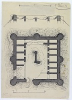 view D-344: Farrashband valley, fort.SA-II, fig.5 digital asset: Farrashband Valley (Iran): Remains of a Fort: Ground Plan and Elevation, [drawing]