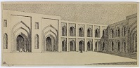 view D-347: Baghdad. Mustansiriya. SA-II, fig.30 digital asset: Baghdad (Iraq): Mustansiriya Madrasa, South-West Fac̦ade in Courtyard: Perspective of Triple Arch of Prayer Hall [drawing]