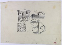 view D-349: Assur, carved stucco. digital asset: Excavation of Assur (Iraq): Wall Decoration with Geometric Ornamentation [drawing]