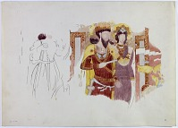"""view D-354: Excavation of Kuh-e Khwaja (Iran): Ruins of Ghaga-Shahr, """"Palace-Temple"""" Complex, Painted Gallery under North Terrace: Watercolor Sketch of Fragmentary Paintings on the Wall digital asset: Excavation of Kuh-e Khwaja (Iran): Ruins of Ghaga-Shahr, """"Palace-Temple"""" Complex, Painted Gallery under North Terrace: Watercolor Sketch of Fragmentary Paintings on the Wall [drawing]"""