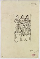 view D-362: Ming-ői. Sketch of three figures. IAE, fig.405 digital asset: Turfan (China): Ming-Öi: Sketch of Three Standing Figures [drawing]