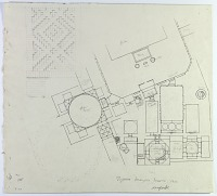 """view D-369: Isfahan. Imamzadeh Isma'il. Marked """"Unpubl"""". digital asset: Isfahan (Iran): Imamzada Ismail Mausoleum: Ground Plan with Handwritten Annotations Related to Arabic Inscriptions [drawing]"""
