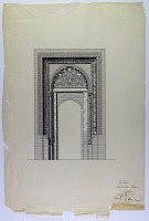 """view D-373: Isfahan. Old Great Mosque. Restoration of portal. Ink. Marked """"Unpubl."""" digital asset: Isfahan (Iran): Friday Mosque, North-East Portal (no longer in use): Elevation Including Arabic Inscription and Brick Ornamentation [drawing]"""