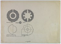 """view D-375: Cross sections of Indian minarets. Marked """"Unpubl."""" digital asset: Qutl Minar (India) and Kishmar (India): Cross Sections of Indian Minarets [drawing]"""